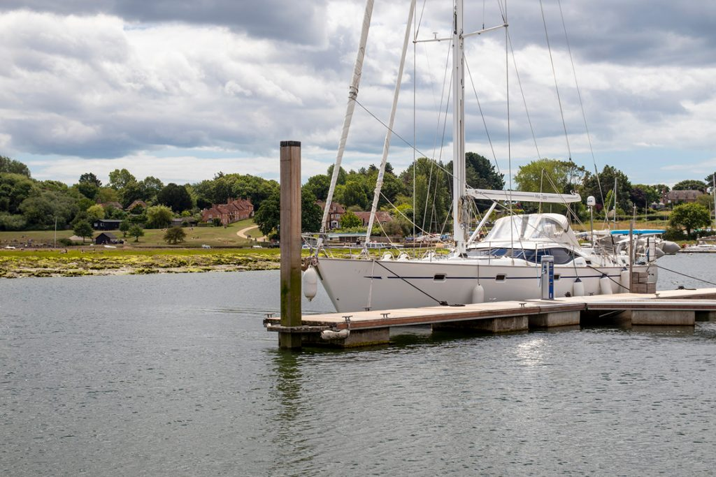 View of Buckler's Hard village and marina pontoon