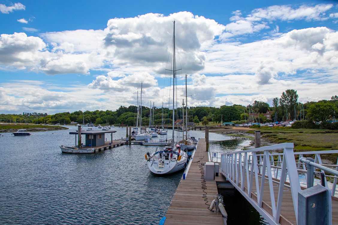 Visitor South pontoon at Buckler's Hard Yacht Harbour on the Beaulieu River