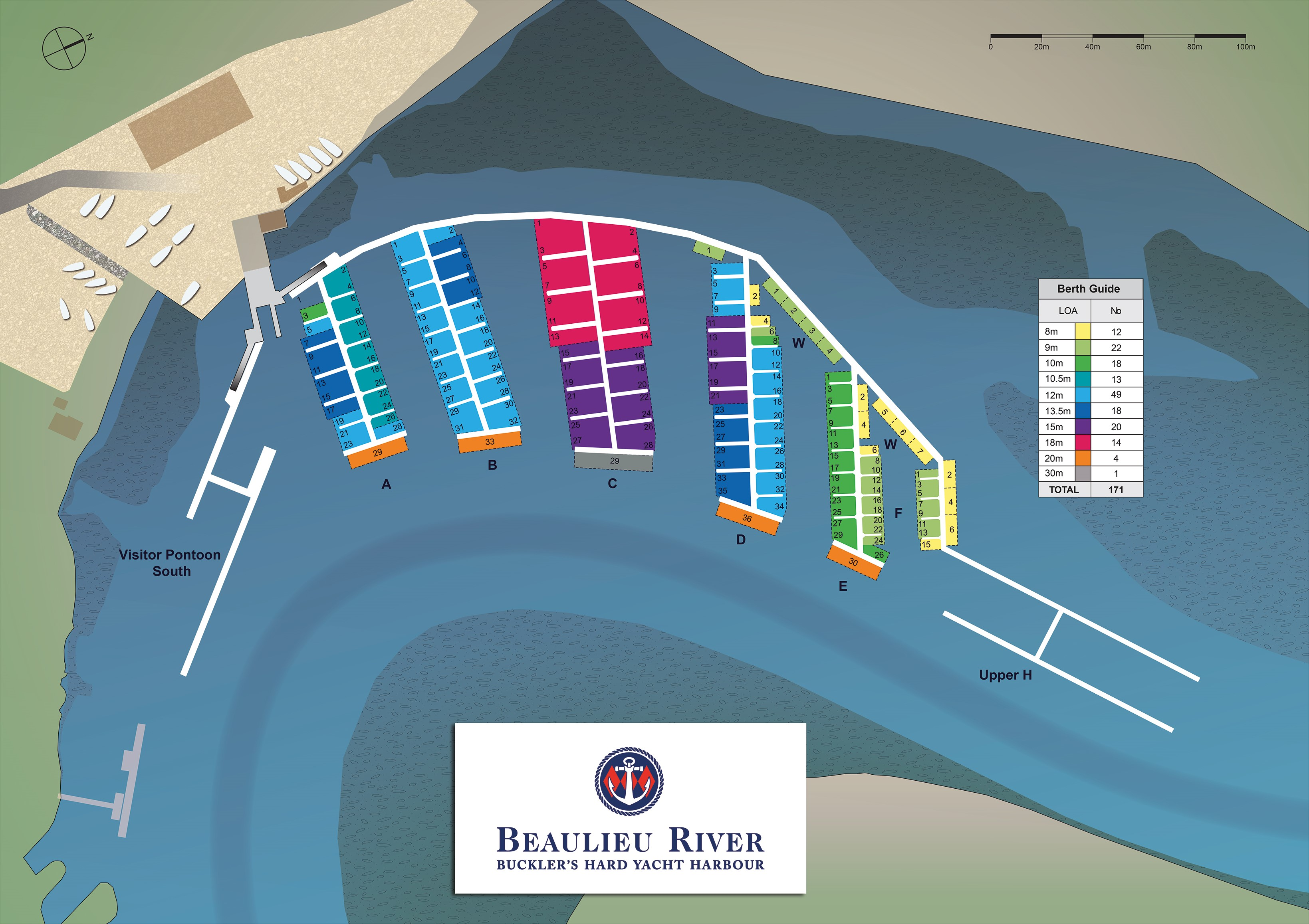 Map of Buckler's Hard Yacht Harbour berths