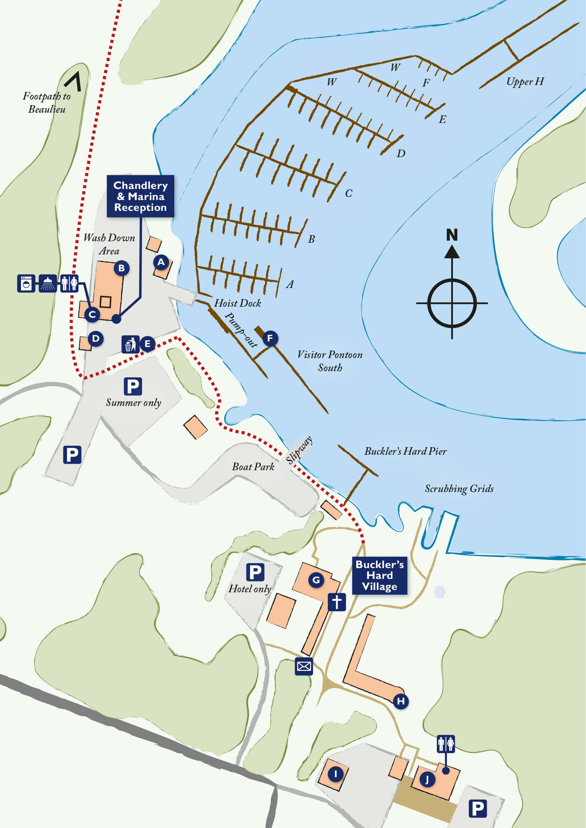 Map of Buckler's Hard Yacht Harbour on the Beaulieu River