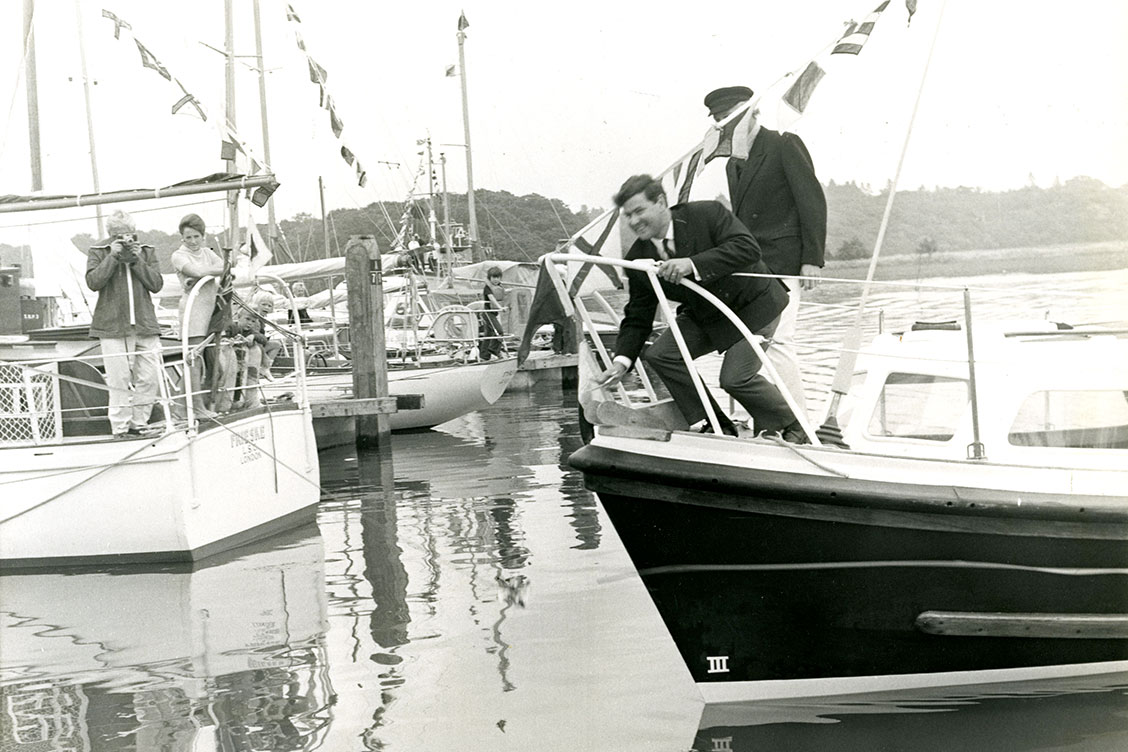 Opening Buckler's Hard Yacht Harbour 1971. Lord Montagu & Chay Blyth