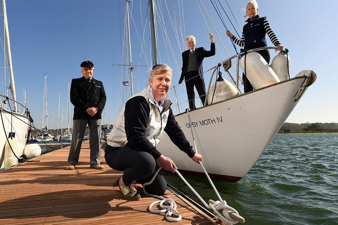 Buckler's Hard Yacht Harbour - l-r Bill Grindey, Harbour Master Wendy Stowe, Lord Montagu, Mary Montagu-Scott