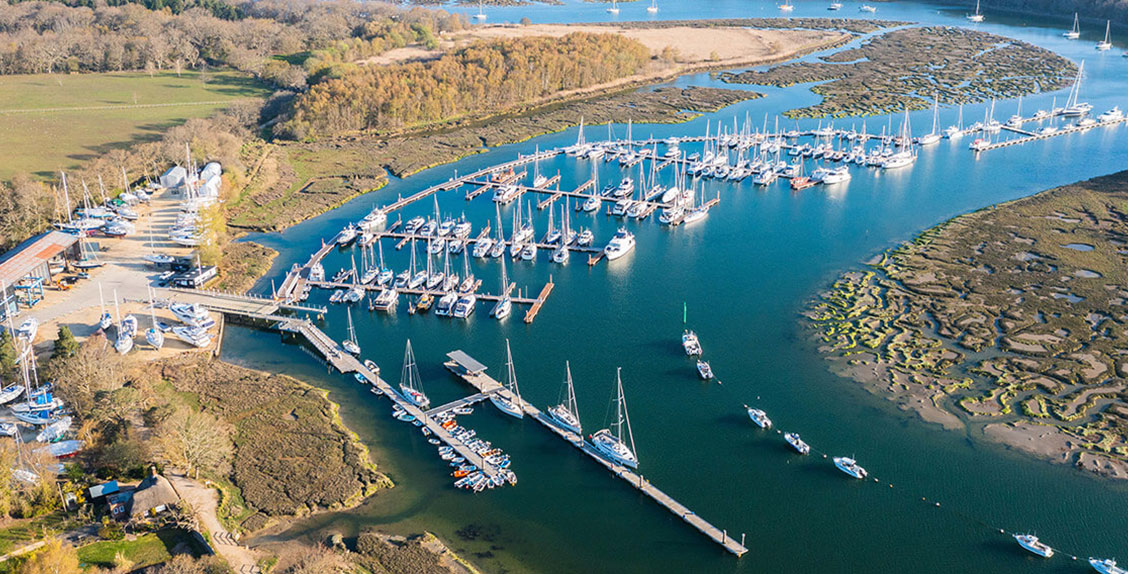 Aerial view of Buckler's Hard Yacht Harbour on the Beaulieu River