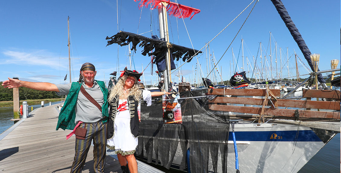 Best dressed boat winners Kim Flury and Ian Landymore at the 50th anniversary celebration of Buckler's Hard Yacht Harbour