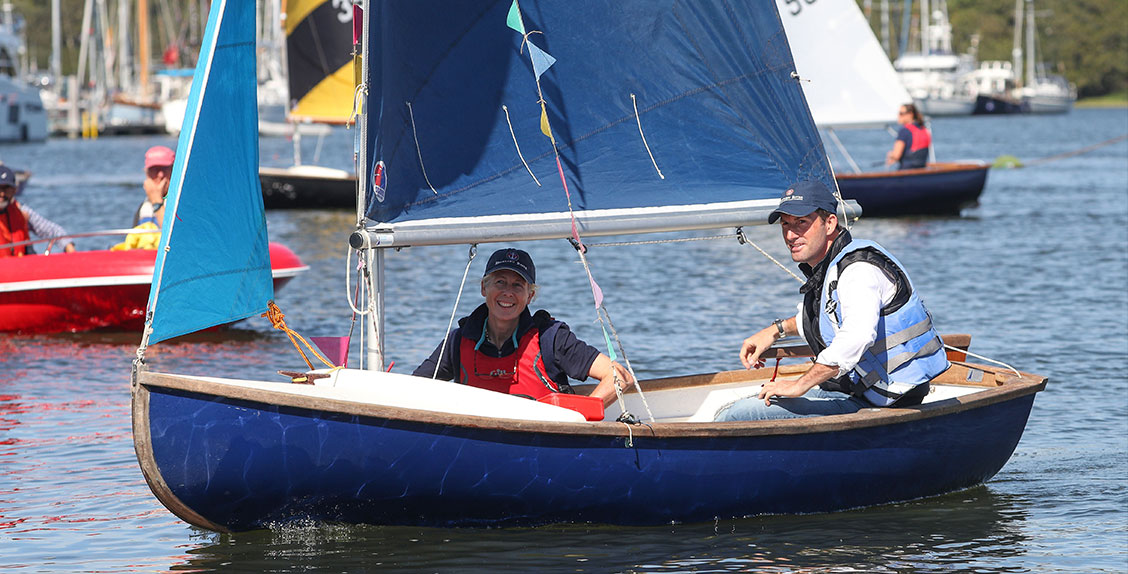 Sir Ben Ainslie sails on a scow on the Beaulieu River with Mary Montagu-Scott